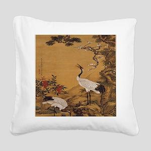cranes-woodblock-print-iPad-c Square Canvas Pillow
