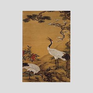 cranes-woodblock-print-iPad-case Rectangle Magnet