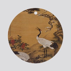 cranes-woodblock-print-iPad-case Round Ornament
