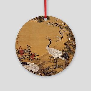 cranes-woodblock-print-iPad-case Round Ornament