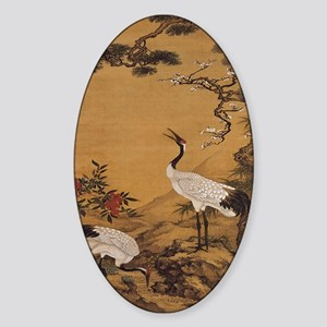 cranes-woodblock-print-iPad-case Sticker (Oval)