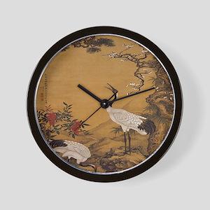 cranes-woodblock-print-iPad-case Wall Clock