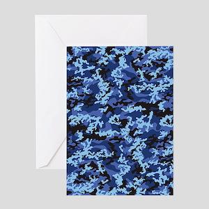 Blue Camo Greeting Card