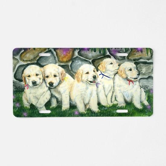 golden puppies Aluminum License Plate