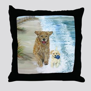 Golden Surf runners Throw Pillow