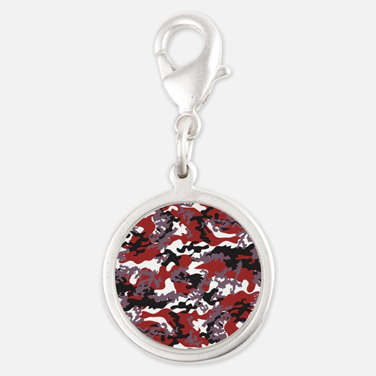 Red Camo Silver Round Charm