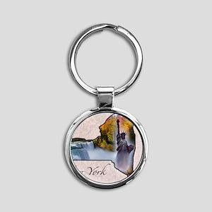 NewYork Round Keychain