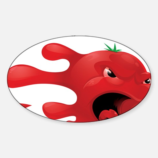 tomato battle txt clear Sticker (Oval)