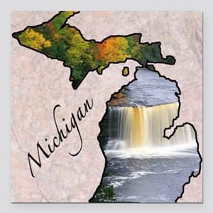 "Michigan Square Car Magnet 3"" x 3"""