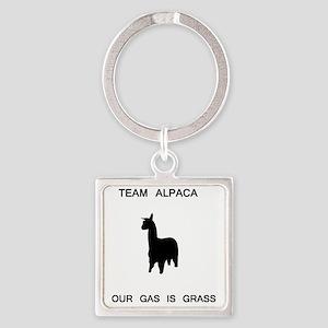 alpaca_grass Square Keychain