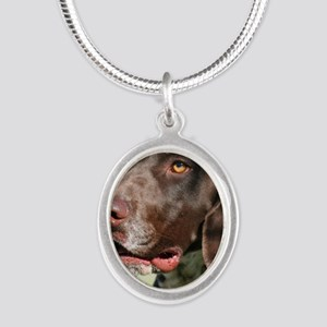 German Shorthaired Pointer Silver Oval Necklace