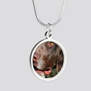 German Shorthaired Pointer Silver Round Necklace