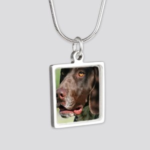 German Shorthaired Pointer Silver Square Necklace