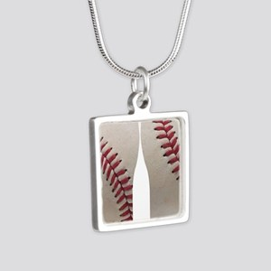 Baseball Silver Square Necklace