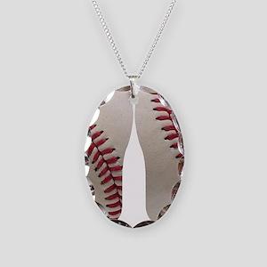 Baseball Necklace Oval Charm