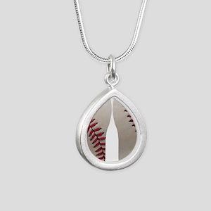 Baseball Silver Teardrop Necklace