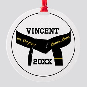 Martial Arts 1st Degree Black Belt Round Ornament
