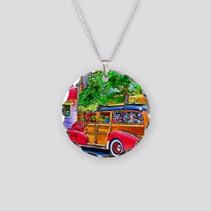 Woody Art Necklace Circle Charm