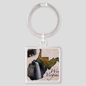 West Virginia Square Keychain