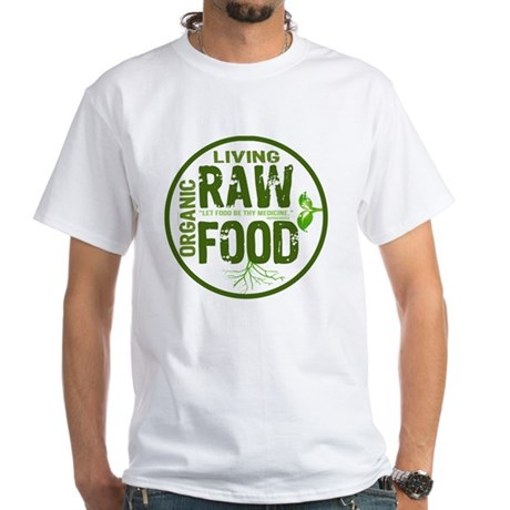 RAWFOODBUTTON2 White T-Shirt