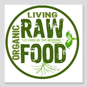 """RAWFOODBUTTON2 Square Car Magnet 3"""" x 3"""""""