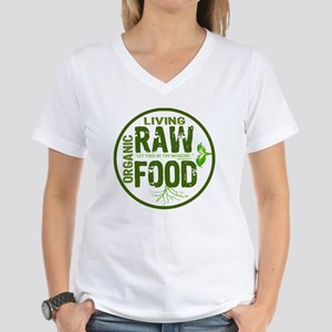 RAWFOODBUTTON2 Women's V-Neck T-Shirt