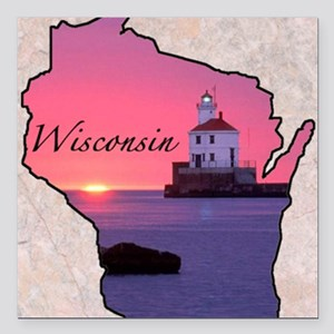 "Wisconsin Square Car Magnet 3"" x 3"""