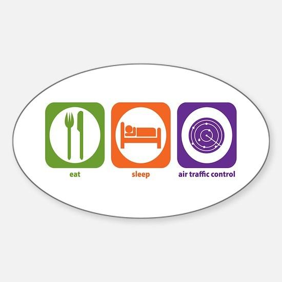 Eat Sleep Air Traffic Oval Decal