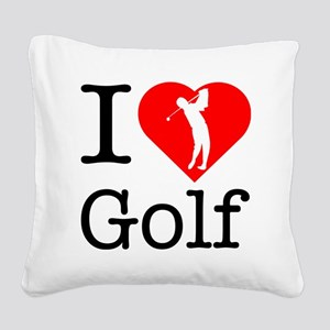 I-Heart-Golf Square Canvas Pillow