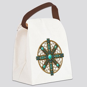 Native American Beadwork Mandala Canvas Lunch Bag
