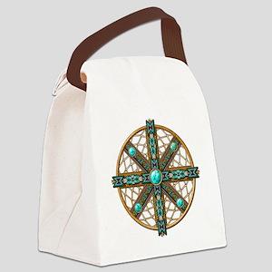 Native American Beadwork Mandala Canvas Lunch Bag