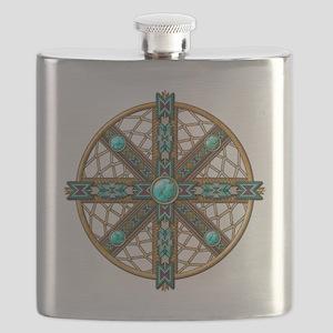 Native American Beadwork Mandala Flask