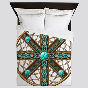 Native American Beadwork Mandala Queen Duvet
