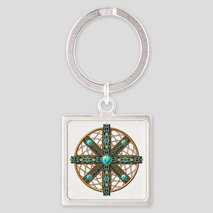 Native American Beadwork Mandala Square Keychain