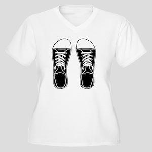 sneaker-bw-FF Women's Plus Size V-Neck T-Shirt