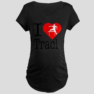 I-Heart-Track Maternity Dark T-Shirt