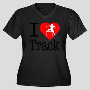 I-Heart-Trac Women's Plus Size Dark V-Neck T-Shirt