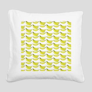 Yellow Bananas Pattern Square Canvas Pillow
