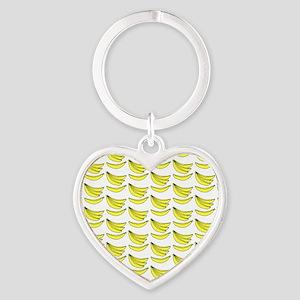 Yellow Bananas Pattern Heart Keychain
