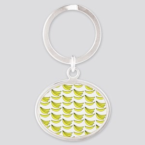 Yellow Bananas Pattern Oval Keychain