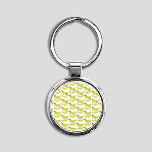 Yellow Bananas Pattern Round Keychain