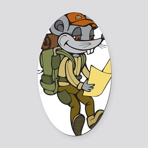 Backpacking Mouse Oval Car Magnet