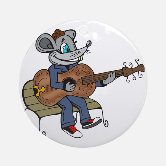 Mouse Playing Guitar Round Ornament