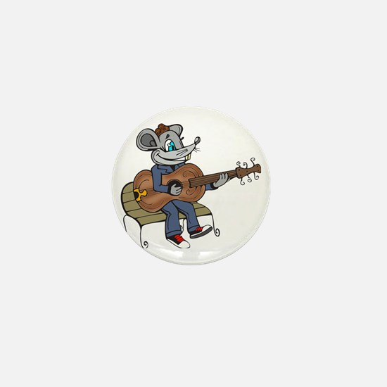 Mouse Playing Guitar Mini Button
