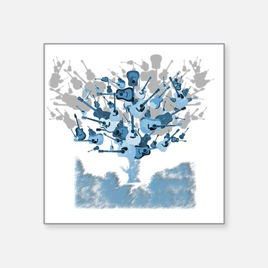 "guitar tree red Square Sticker 3"" x 3"""