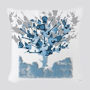 guitar tree red Woven Throw Pillow