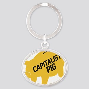 cap-pig-1 Oval Keychain