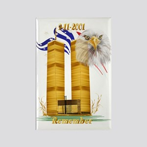 Golden Twin Towers and Eagle-Flag Rectangle Magnet