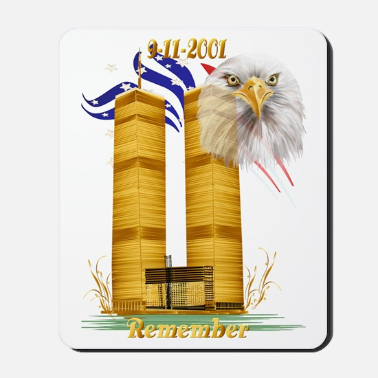 Golden Twin Towers and Eagle-Flag Trans Mousepad
