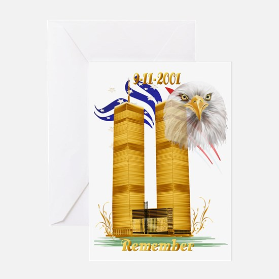 Golden Twin Towers and Eagle-Flag Tr Greeting Card